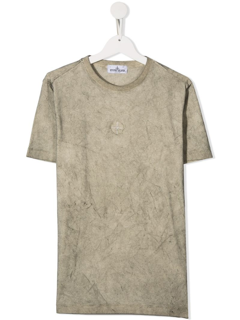 STONE ISLAND JUNIOR: logo patch cotton t-shirt Color Neutral_1