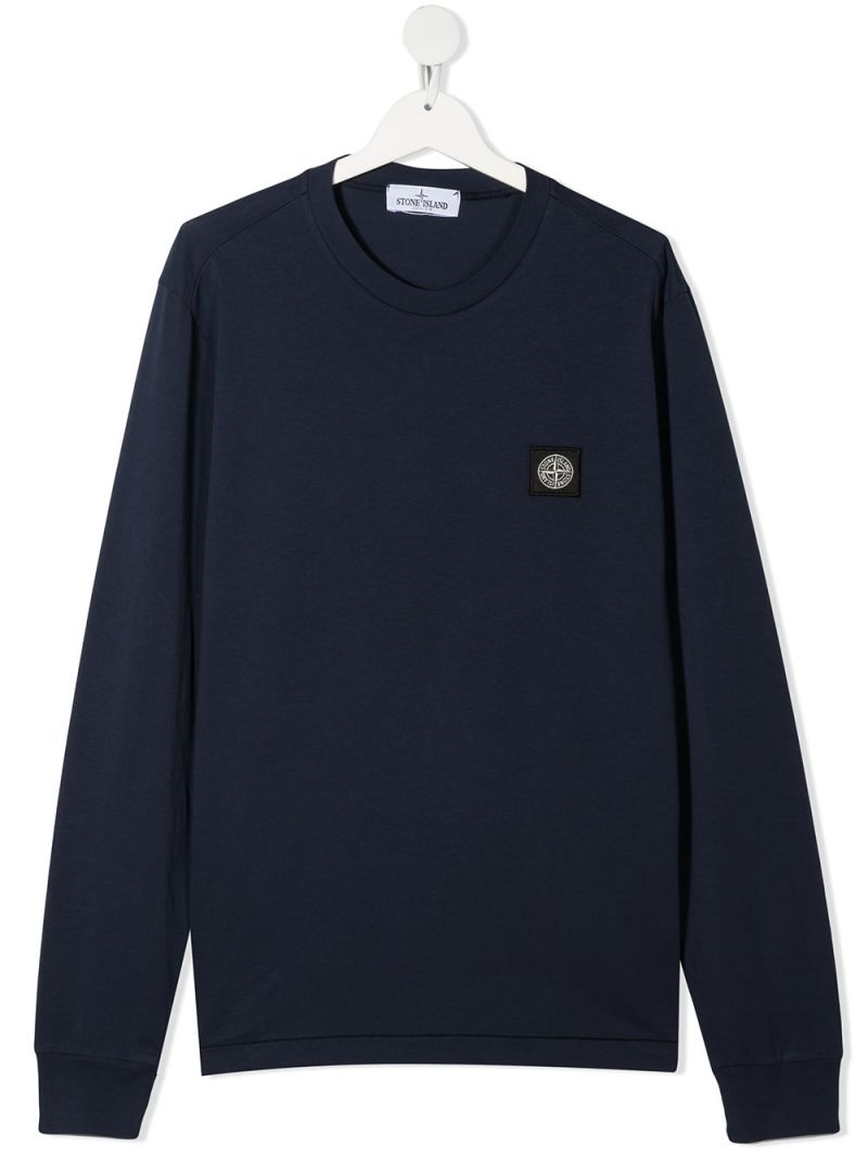 STONE ISLAND JUNIOR: logo patch cotton long-sleeved t-shirt Color Blue_1