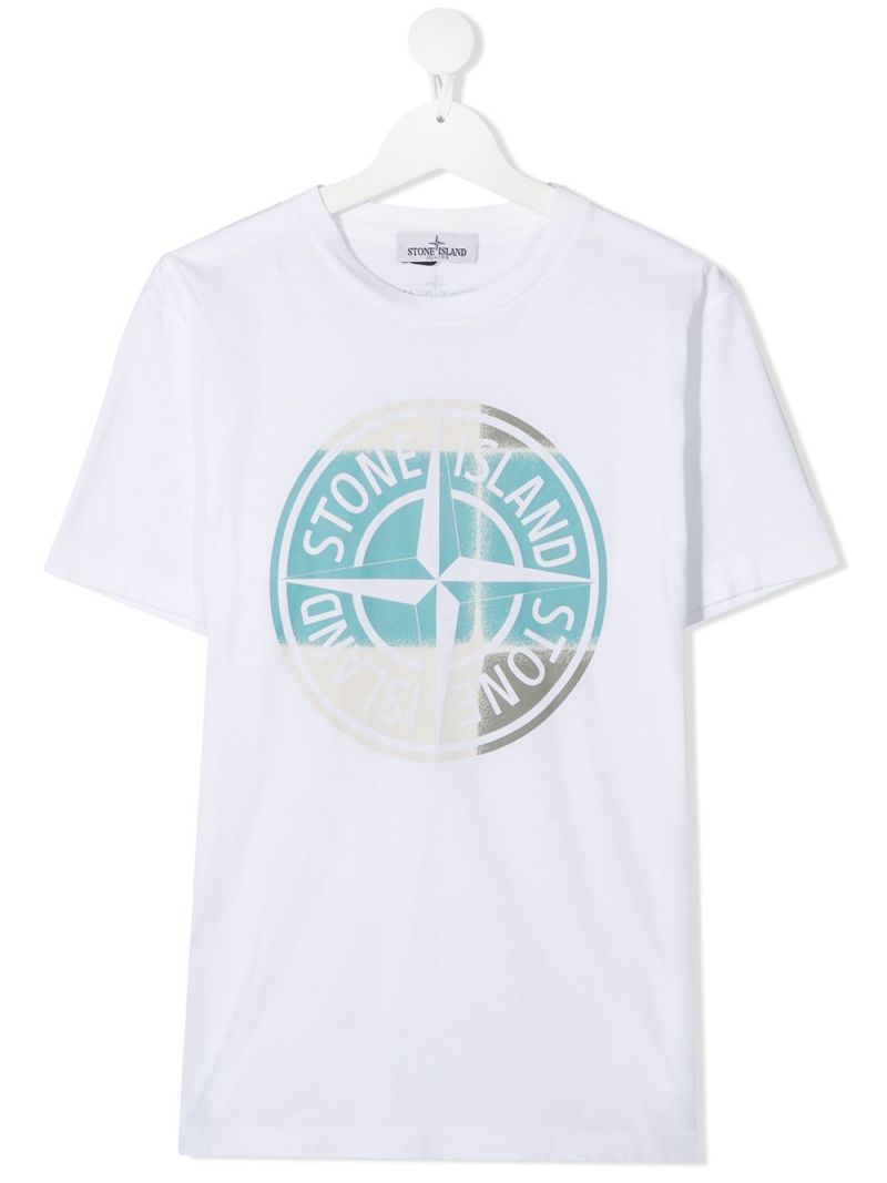 STONE ISLAND JUNIOR: logo print cotton t-shirt Color White_1