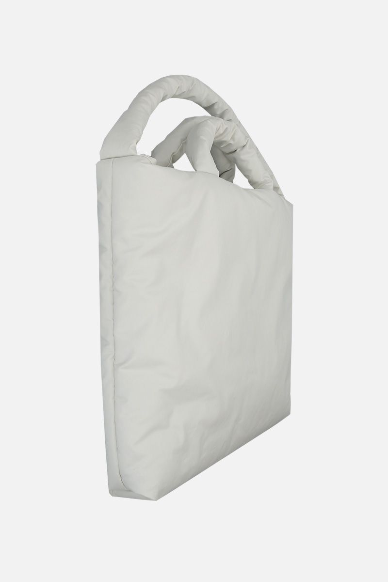 KASSL EDITIONS: Oil large padded handbag in coated canvas Color White_2