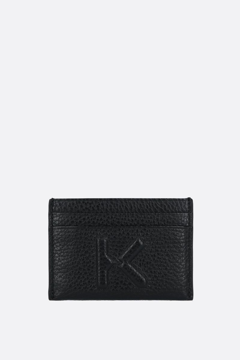 KENZO: K embossed grainy leather card case Color Black_1