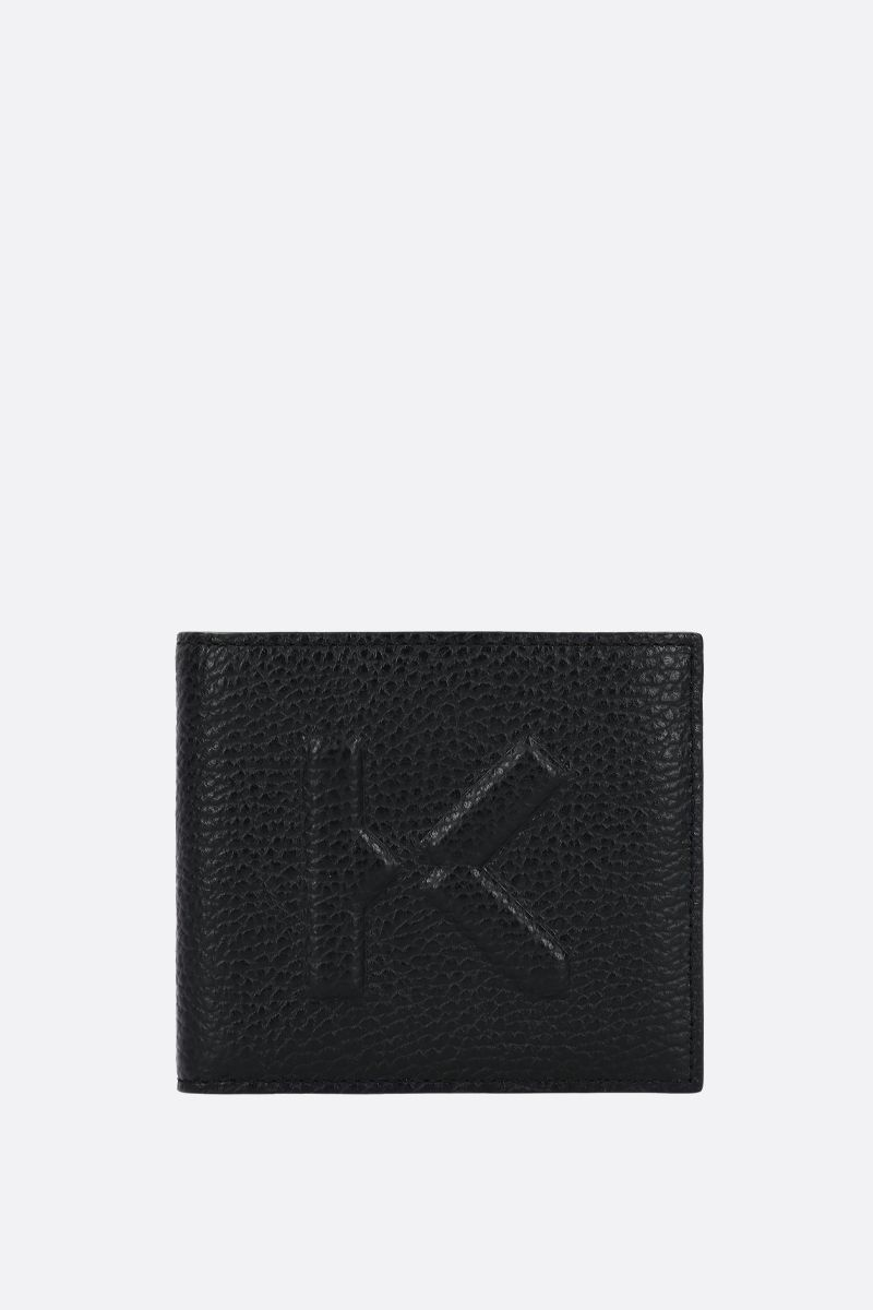 KENZO: K embossed grainy leather billfold wallet Color Black_1