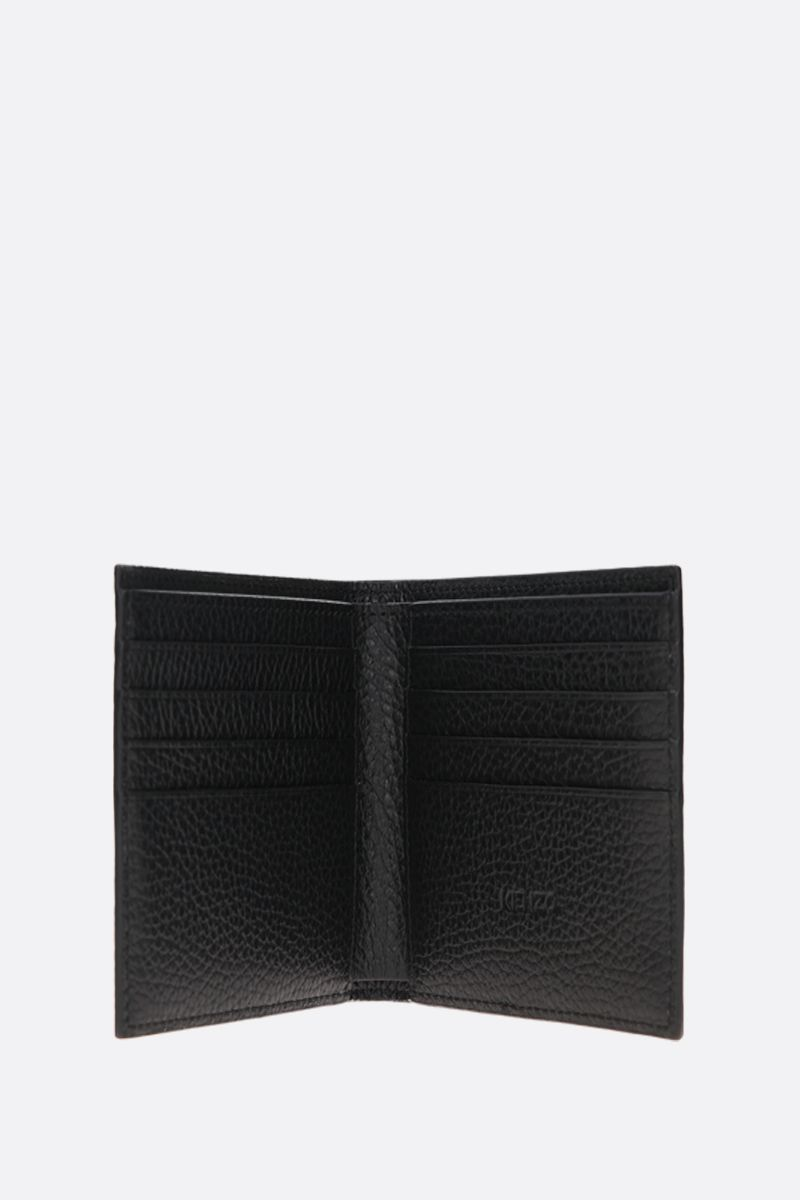 KENZO: K embossed grainy leather billfold wallet Color Black_2