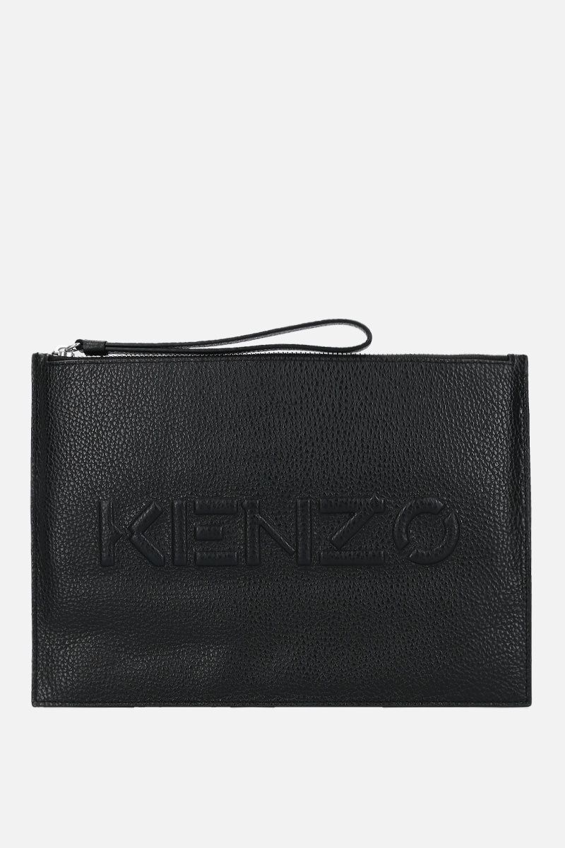 KENZO: grainy leather large clutch Color Black_1