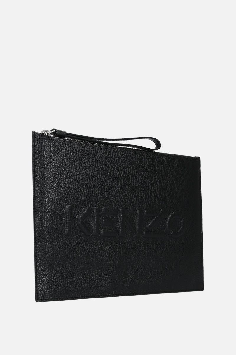 KENZO: grainy leather large clutch Color Black_2