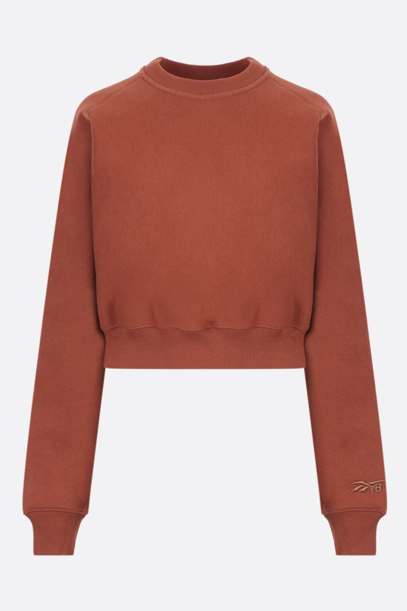 REEBOK X VICTORIA BECKHAM: RBK Victoria Beckham cotton cropped sweatshirt Color Brown_1