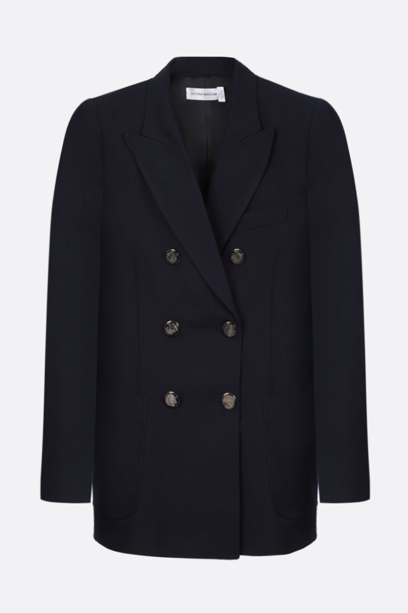 VICTORIA BECKHAM: wool blend double-breasted jacket Color Blue_1