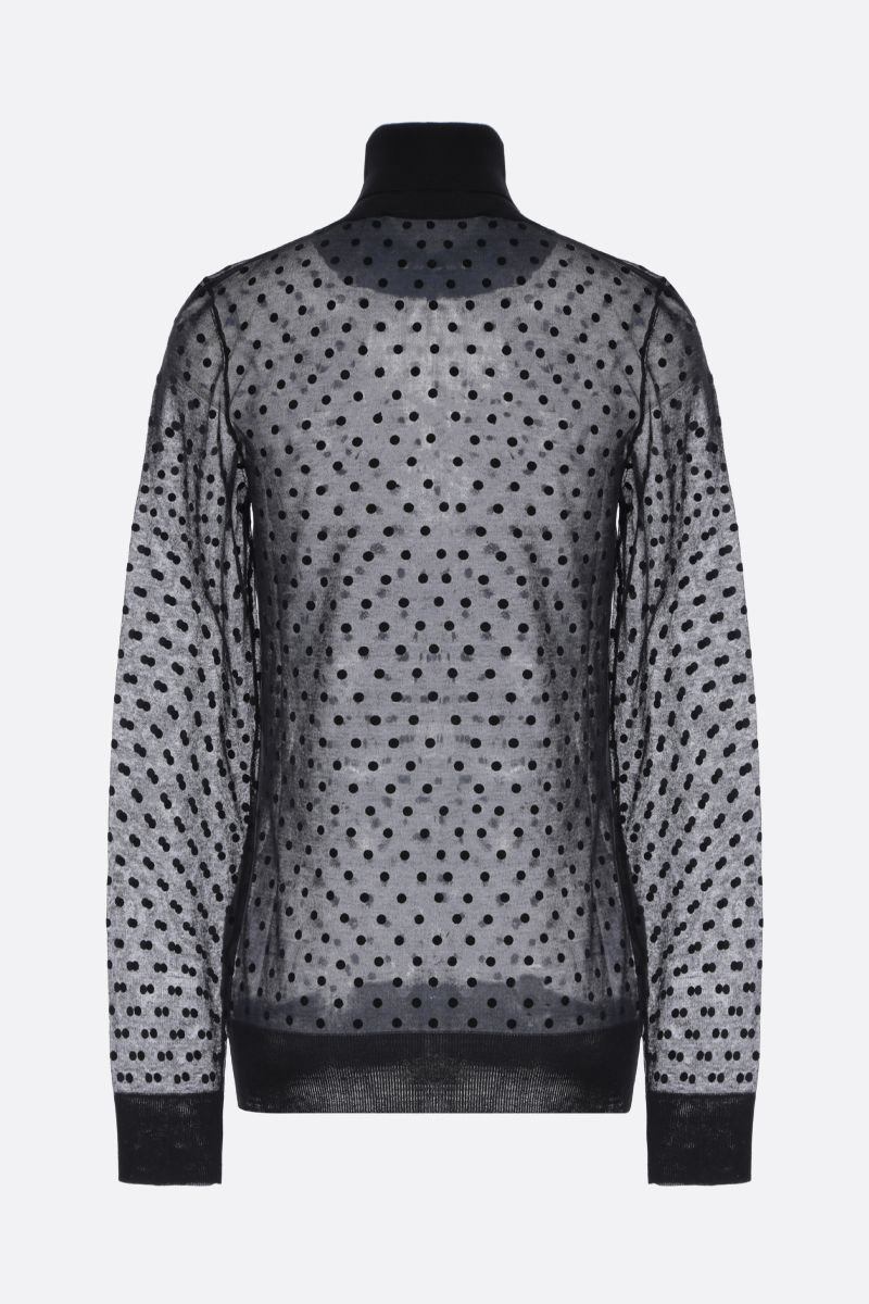 VICTORIA BECKHAM: polka dots printed cotton blend turtleneck Color Black_2