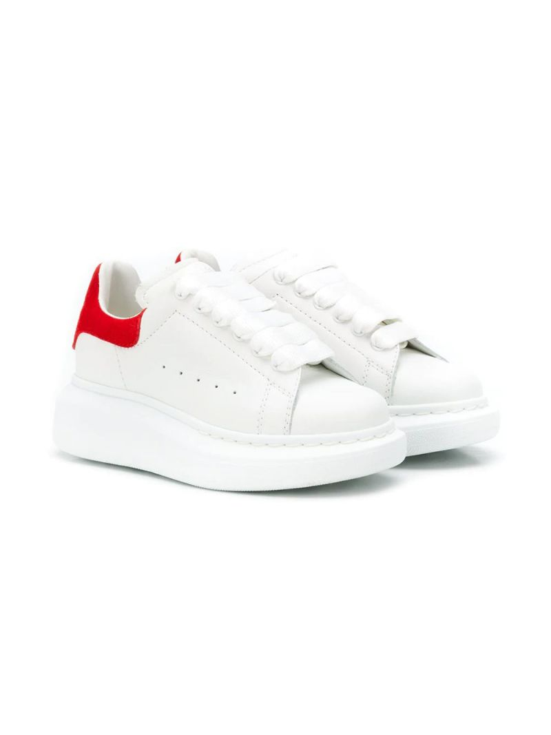 ALEXANDER McQUEEN KIDS: Oversize smooth leather sneakers Color Multicolor_1