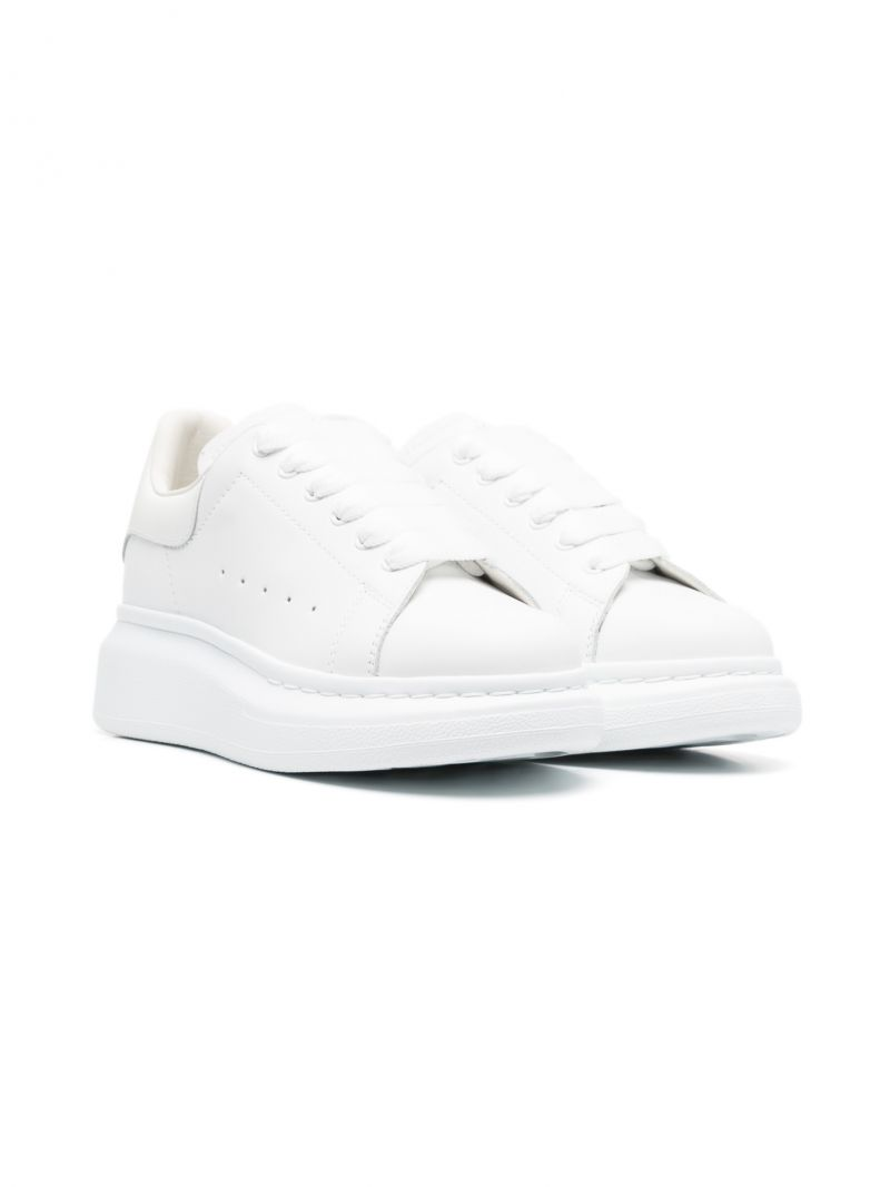 ALEXANDER McQUEEN KIDS: Oversize smooth leather sneakers Color White_1