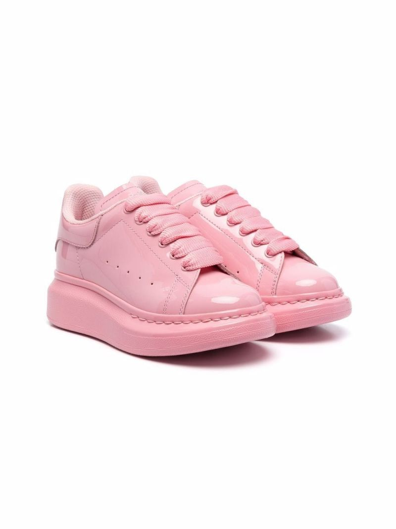 ALEXANDER McQUEEN KIDS: Oversize smooth leather sneakers Color Pink_1