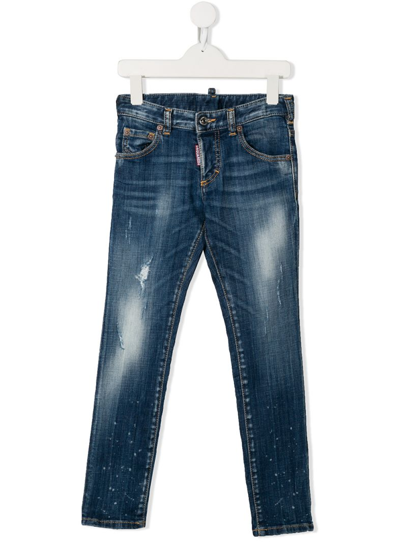 DSQUARED2 KIDS: Clement jeans with distressed effect Color Blue_1