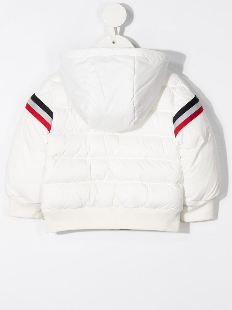 MONCLER KIDS: tricolour band-detailed nylon down jacket Color White_2