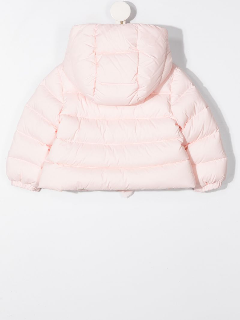 MONCLER KIDS: logo patch nylon down jacket Color Pink_2