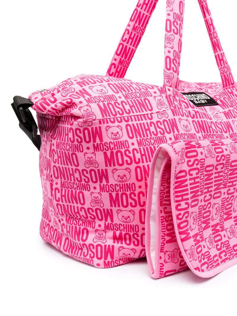 MOSCHINO KIDS: logo print stretch cotton changing bag Color Purple_2