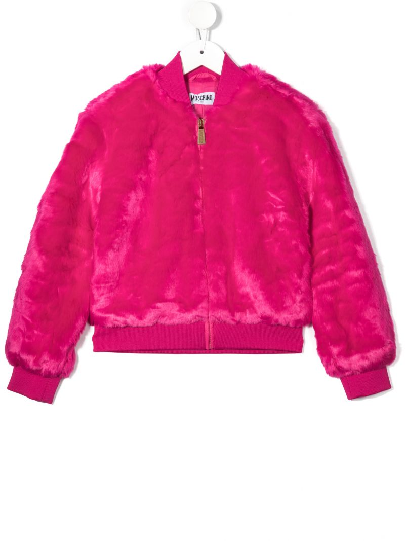 MOSCHINO KIDS: Fur For Fun faux fur bomber jacket Color Red_1