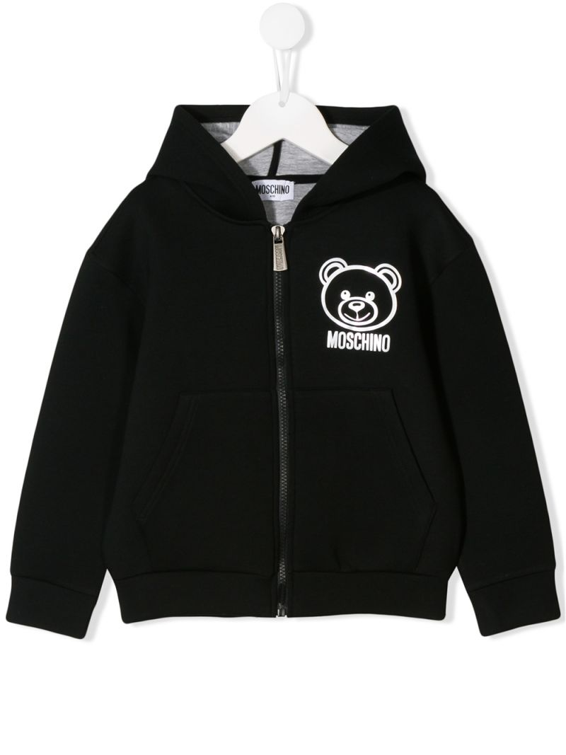 MOSCHINO KIDS: technical jersey full-zip hoodie with Moschino Teddy Bear print Color Black_1