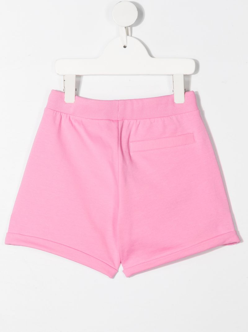 MOSCHINO KIDS: Moschino Teddy Bear print stretch cotton shorts Color Pink_2
