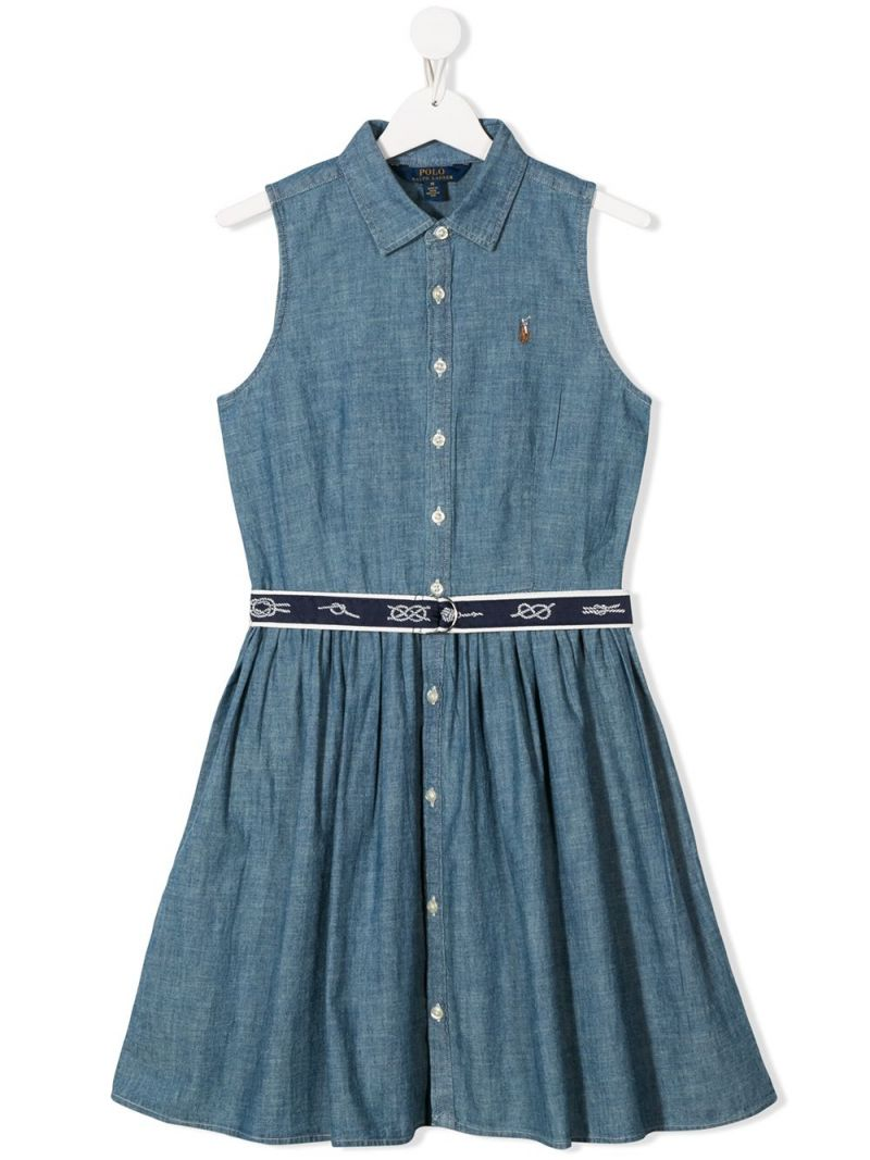 RALPH LAUREN KIDS: abito chemisier in chambray Colore Blu_1