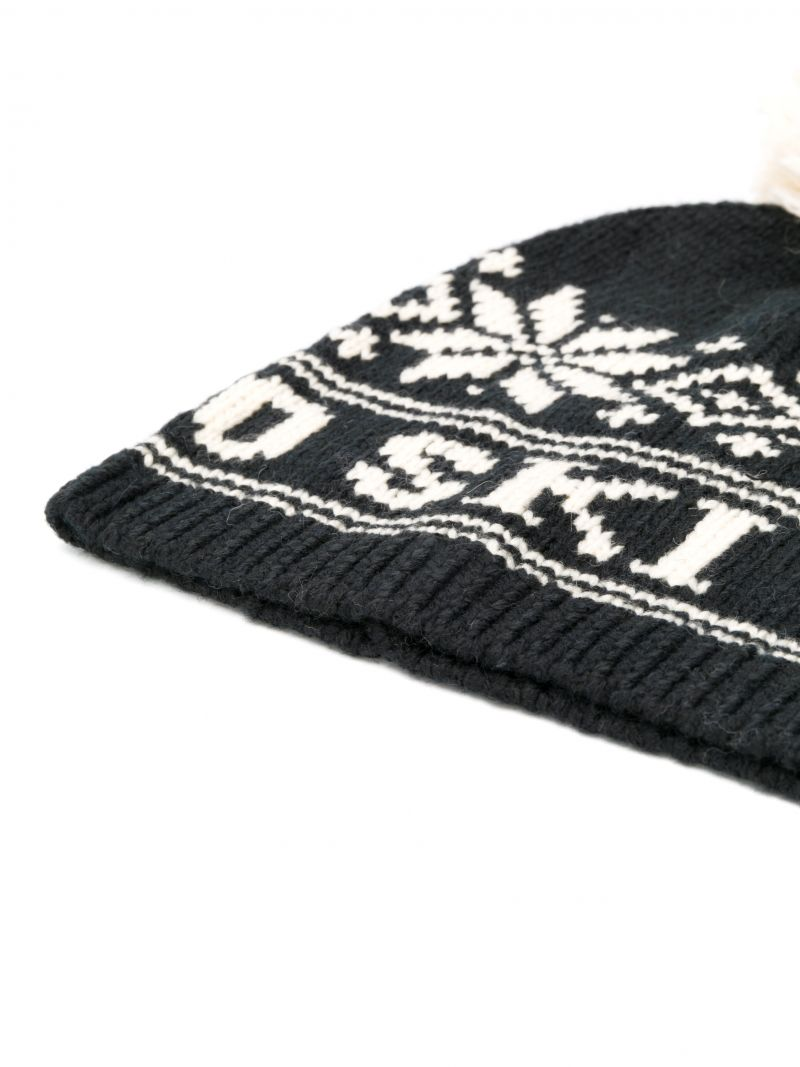 RALPH LAUREN KIDS: snowflakes intarsia wool blend beanie Color Black_2