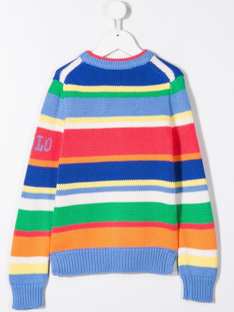 RALPH LAUREN KIDS: striped cotton pullover Color Blue_2