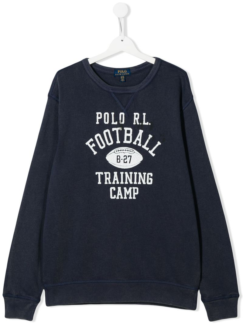 RALPH LAUREN KIDS: felpa in cotone stampa Polo R.L. Football Colore Blu_1