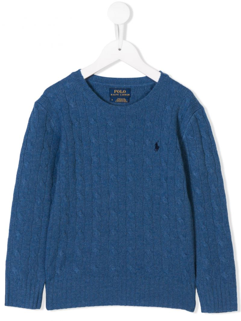 RALPH LAUREN KIDS: logo embroidered wool and cashmere pullover Color Blue_1