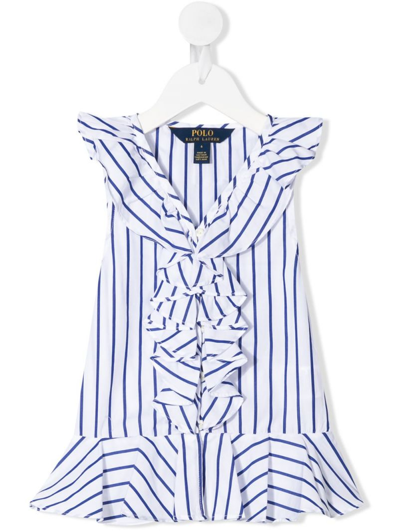 RALPH LAUREN KIDS: striped cotton sleeveless top Color Blue_1