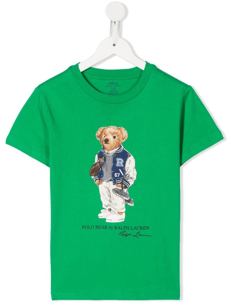 RALPH LAUREN KIDS: Football Bear print cotton t-shirt Color Green_1