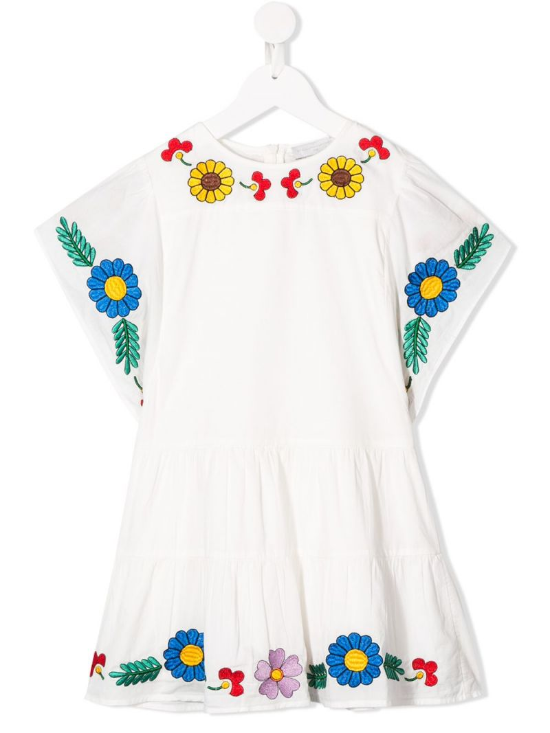 STELLA McCARTNEY KIDS: floral embroidered cotton dress Color Grey_1