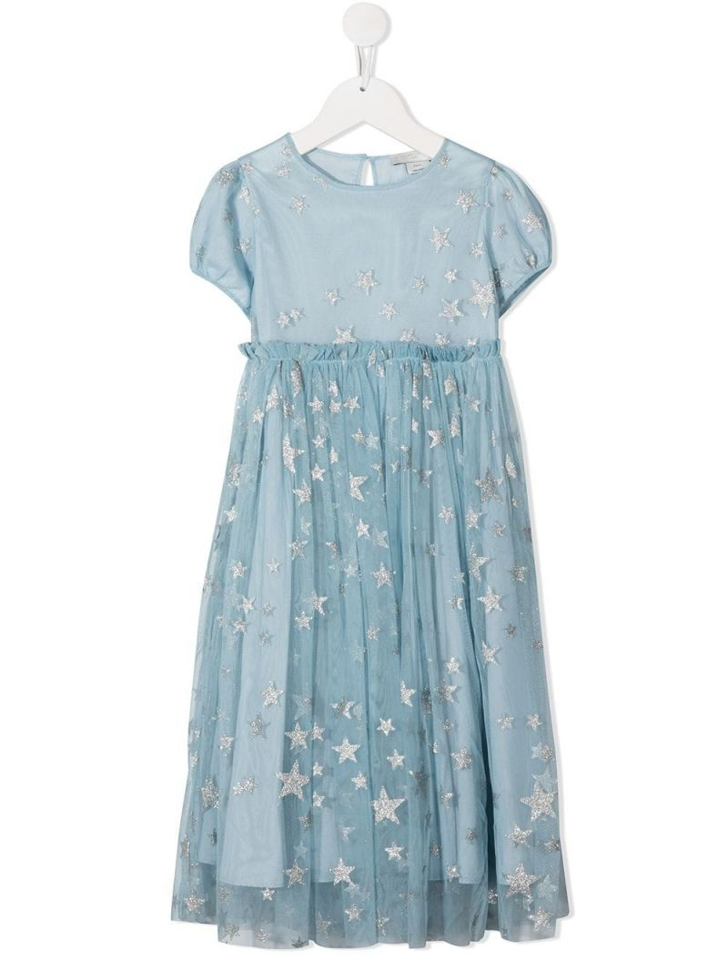 STELLA McCARTNEY KIDS: stars print tulle dress Color Silver_1