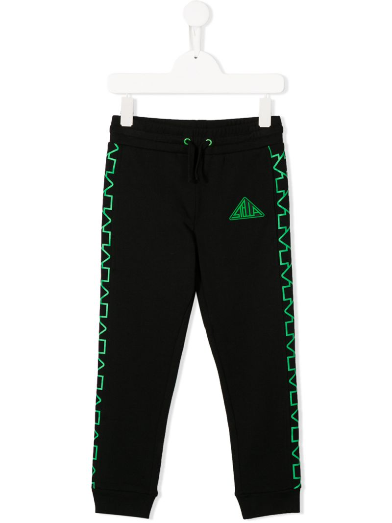 STELLA McCARTNEY KIDS: logo print cotton joggers Color Black_1