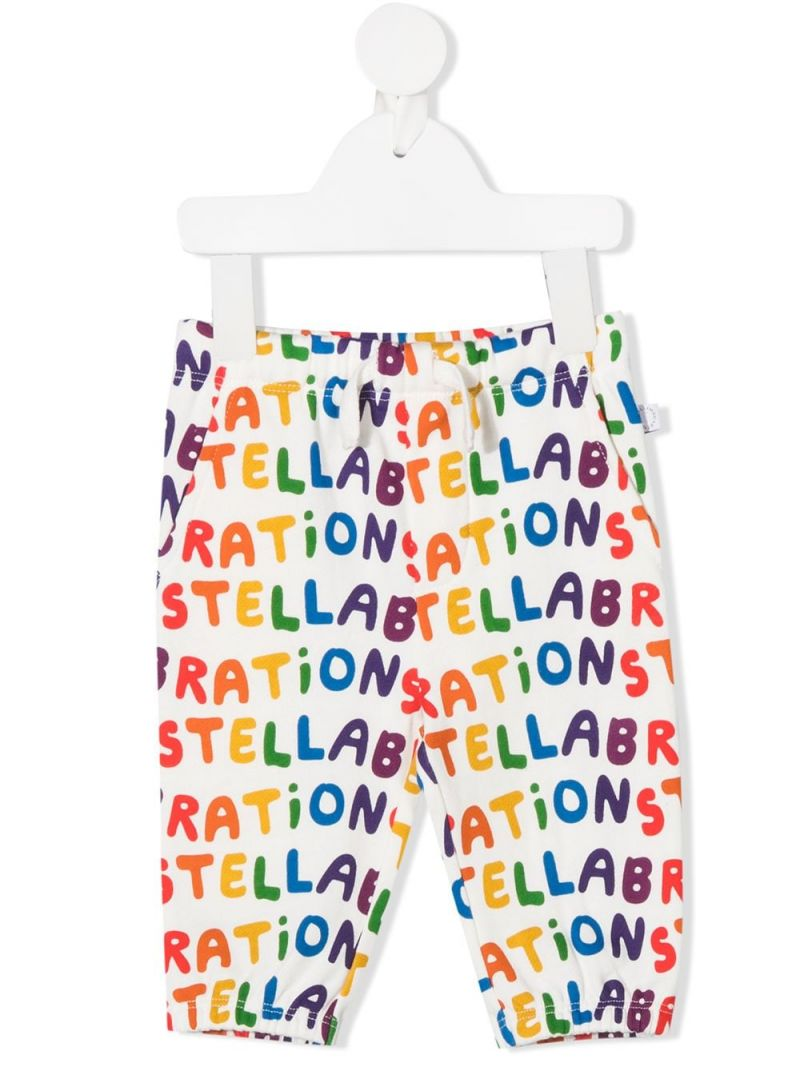 STELLA McCARTNEY KIDS: Stellabration print cotton joggers Color Multicolor_1