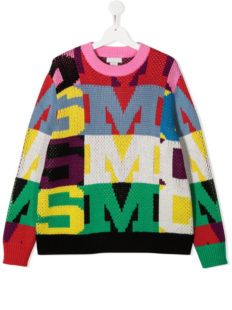 STELLA McCARTNEY KIDS: oversize letters intarsia cotton wool blend pullover Color Multicolor_1