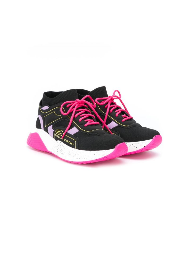 STELLA McCARTNEY KIDS: panelled fabric low-top sneakers Color Black_1