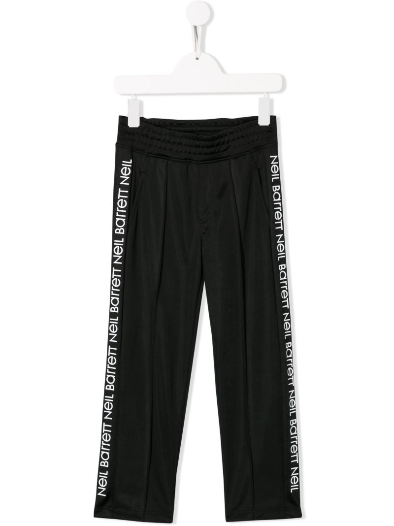 NEIL BARRETT KIDS: logo tape sweat joggers Color Black_1