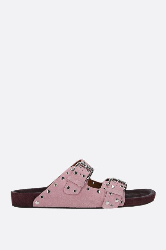ISABEL MARANT: Lennyo studded suede flat sandals Color Pink_1