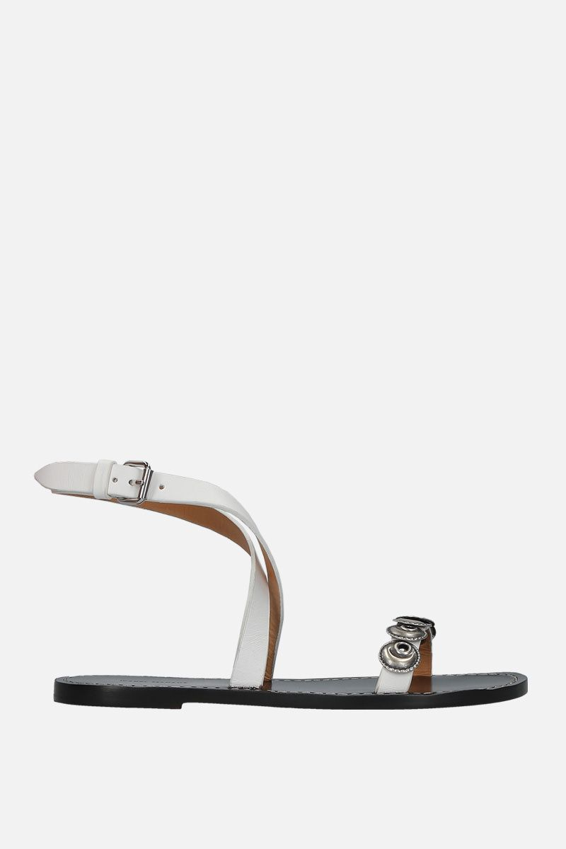 ISABEL MARANT: Eldory flat sandals in smooth leather Color White_1