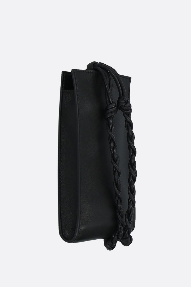 JIL SANDER: Tangle smooth leather smartphone holder Color Black_2