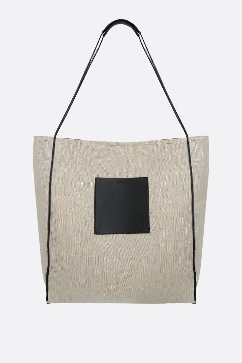 JIL SANDER: borsa shopping in canvas e pelle Colore Neutro_1