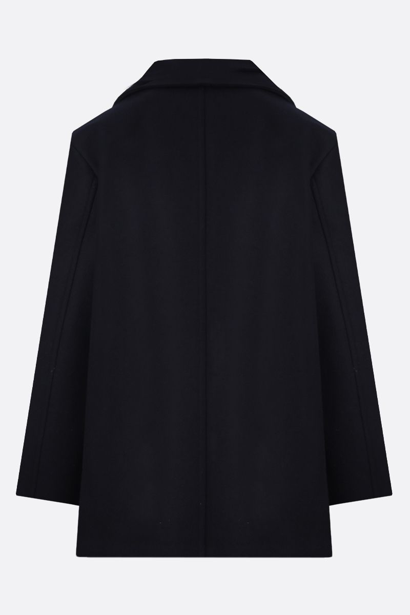 JIL SANDER: wool double-breasted coat Color Blue_2