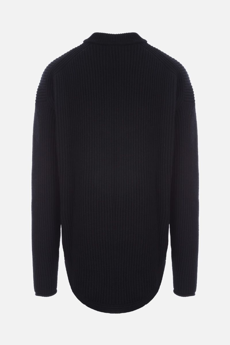 JIL SANDER: crochet insert-detailed ribbed wool pullover Color Black_2