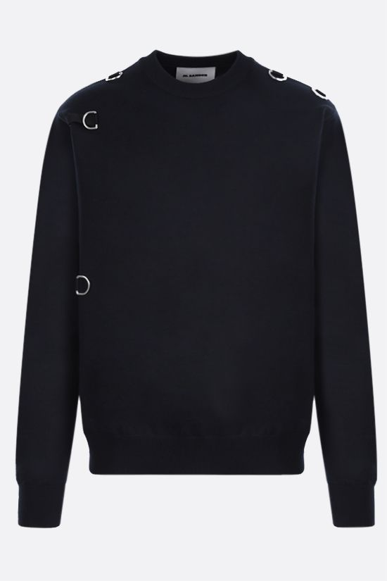 JIL SANDER: bib-detailed wool blend pullover Color Blue_2
