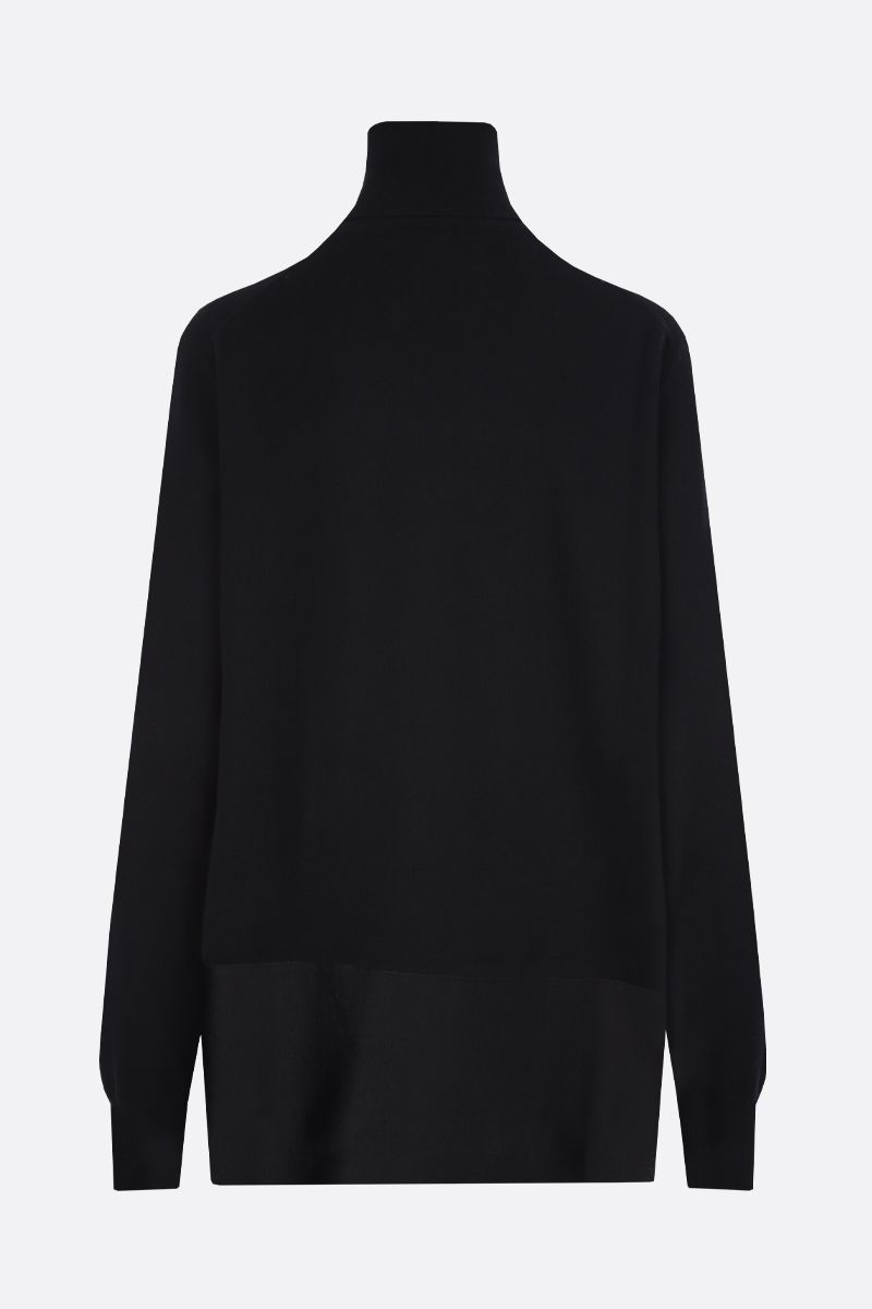 JIL SANDER: silk hem-detailed stretch wool turtleneck Color Black_2