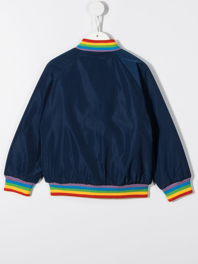 STELLA McCARTNEY KIDS: Sunshine embroidered nylon bomber jacket Color Blue_2