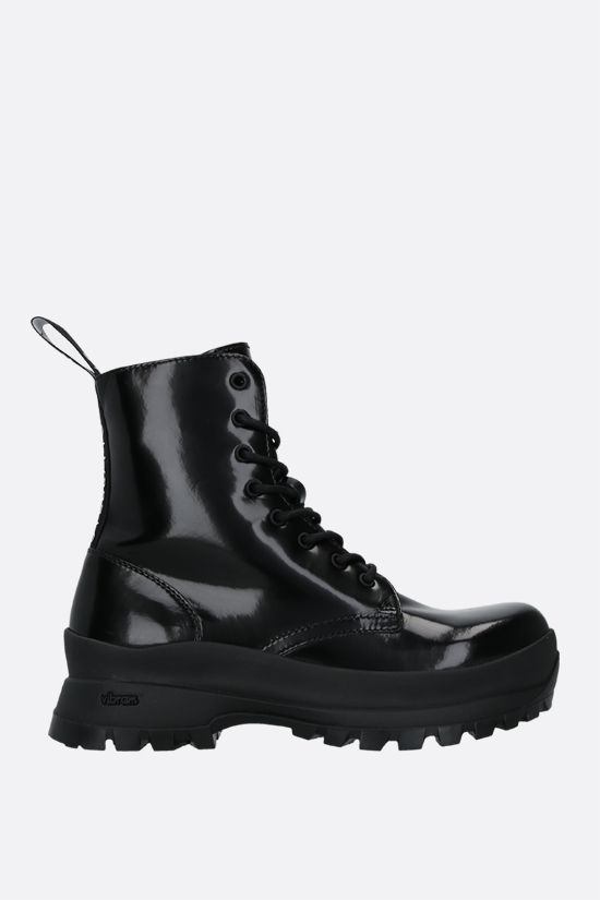 STELLA McCARTNEY: Trace combat boots in shiny Alter Nappa Color Black_1