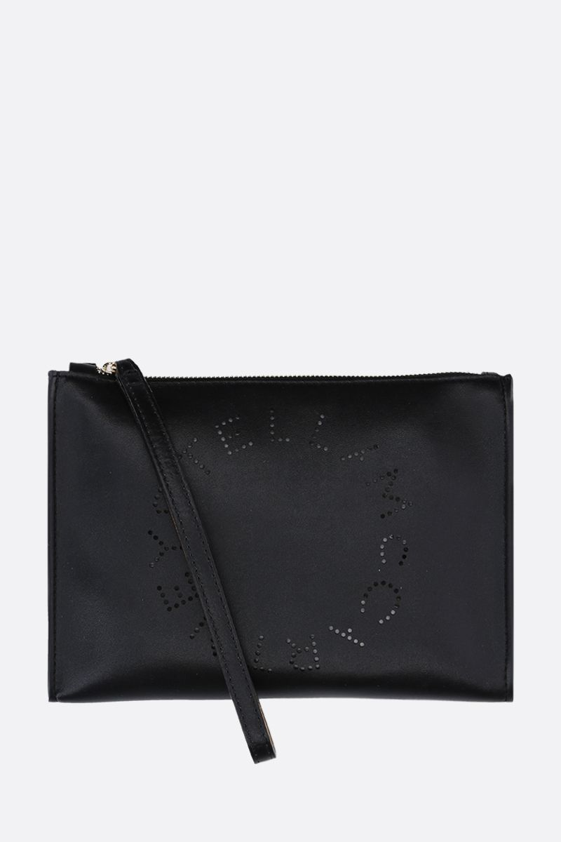 STELLA McCARTNEY: clutch Stella Logo in Alter Nappa Colore Nero_1