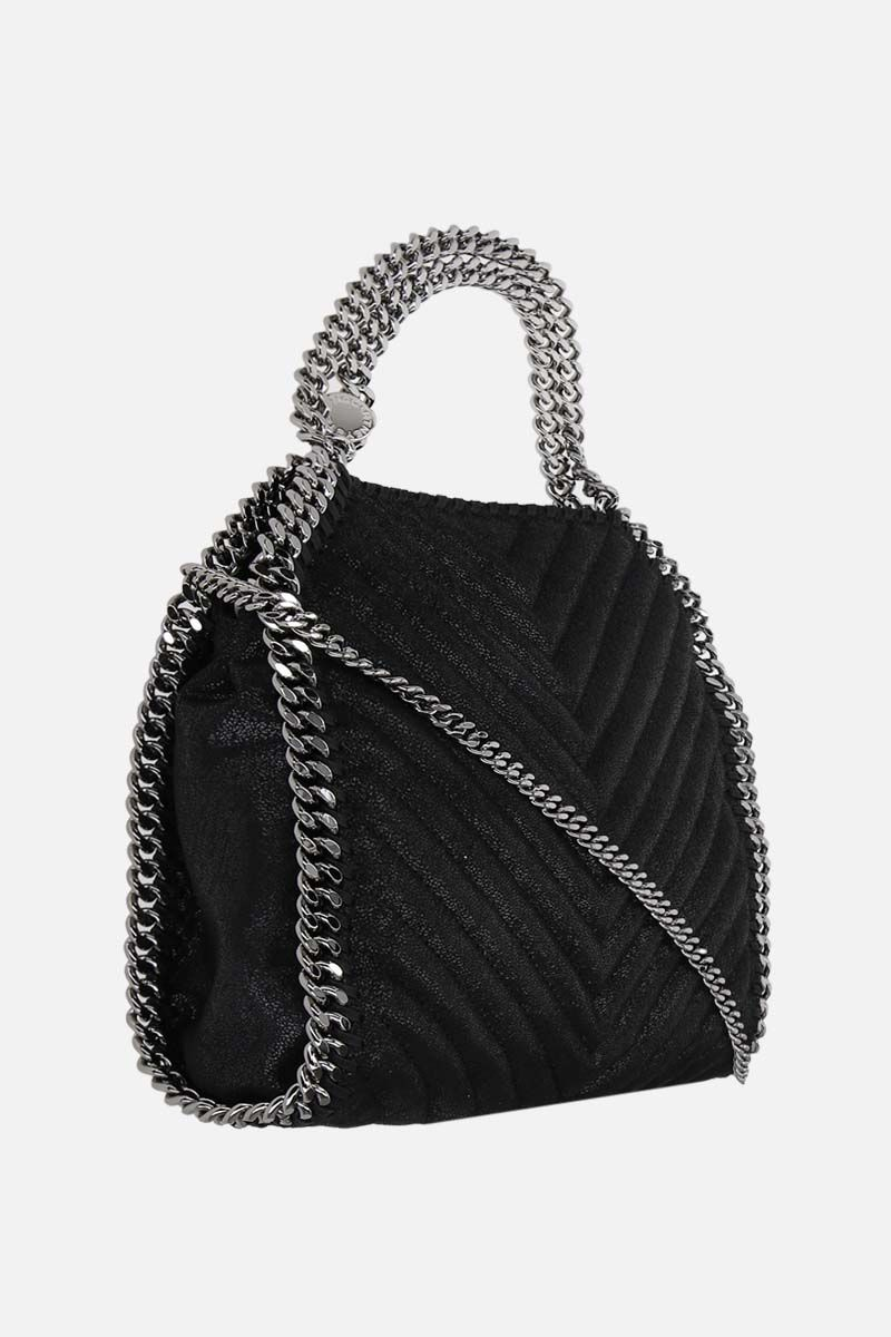 STELLA McCARTNEY: Falabella mini tote bag in quilted Shaggy Deer Color Black_2