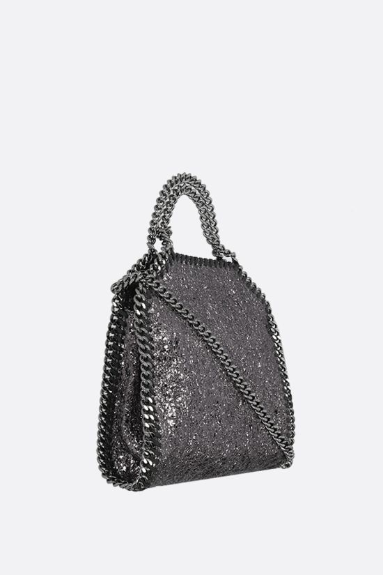 STELLA McCARTNEY: Falabella tiny tote in crakle fabric Color Grey_2