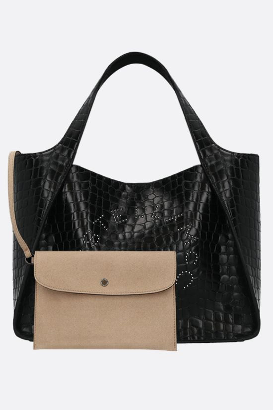 STELLA McCARTNEY: Stella Logo tote bag in crocodile-embossed Alter Nappa Color Black_2